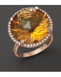 Lisa Nik - 18k Rose Gold Citrine And Diamond Ring - Lyst