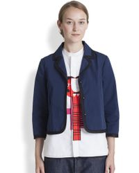 Marni Cropped Contrast Piping Blazer - Lyst