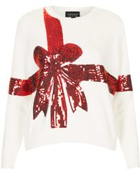 Topshop Knitted Sequin Present Jumper - Lyst