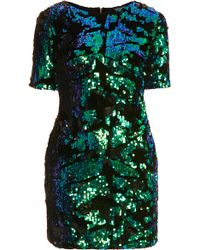 Topshop Sequin Velvet Dress - Lyst