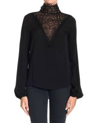 Emilio Pucci Top Turtleneck Silk With V Neck Lace - Lyst