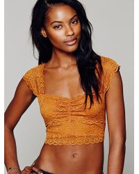 Intimately Scallop Edge Crop brown - Lyst