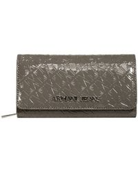 Armani Jeans Patente Leather Wallet with Flap - Lyst