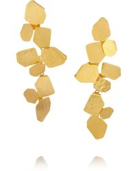 Herve Van Der Straeten - Hammered Goldplated Clip Earrings - Lyst