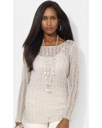 Lauren by Ralph Lauren Metallic Pointelle Knit Sweater Camisole - Lyst
