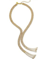 Lauren by Ralph Lauren - Goldtone Crystal Mesh Fringe Y Necklace - Lyst
