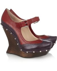 McQ - Studded Leather and Wood Wedge Court Shoes - Lyst