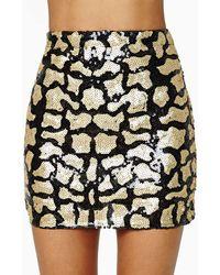 Nasty Gal Far Out Feline Sequin Skirt - Lyst