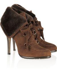 Oscar de la Renta Shearling and Suede Ankle Boots - Lyst