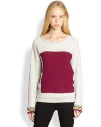 Pjk Patterson J. Kincaid - Gwen Embellished Cuff Panelled Jersey Sweatshirt - Lyst
