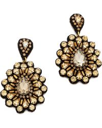 Deepa Gurnani Oversized Crystal Flower Earrings  Silver - Lyst