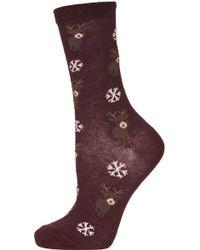 Topshop Reindeer Snowflake Ankle Socks - Lyst
