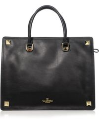 Valentino Stud Doublehandle Leather Tote - Lyst