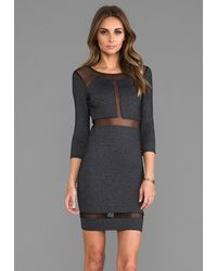 Donna Mizani Paneled Mesh Insert Dress in Charcoal - Lyst