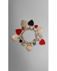 Burberry Heart Charm Bracelet - Lyst