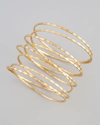 Chamak by Priya Kakkar - Golden Stacked Spiral Bracelet - Lyst