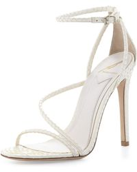 B Brian Atwood - Labrea Corded Snakeskin Sandal White - Lyst