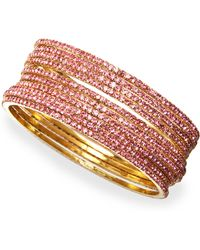 Chamak by Priya Kakkar - Set Of 10 Crystal Bangles Pink - Lyst