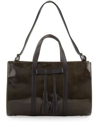 L.a.m.b. Adette Glazed Leather Satchel Bag Black - Lyst