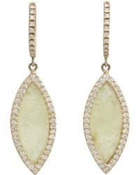 Monique Pean Atelier - Grey Sapphire & Pavé Diamond Navette Drop Earrings - Lyst