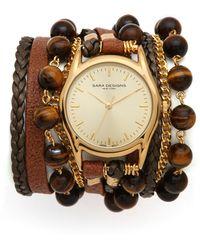 Sara Designs - Leather Beaded Wrap Watch - Lyst