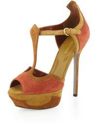 Sergio Rossi Peeptoe Platform Sandal Dark Orange - Lyst