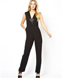Asos London Tuxedo Jumpsuit with V Neck - Lyst