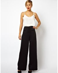 Asos Wide Leg Pants in Satin - Lyst