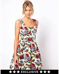 Asos Oasis Rose Print Dress - Lyst
