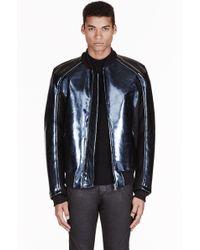 Gareth Pugh - Blue Metallic Polyurethane Jacket - Lyst