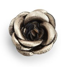 Hook + Albert - Midnight Leather Lapel Flower Pin - Lyst