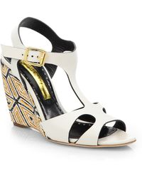 Rupert Sanderson - Mitzy Leather Woven Wedge Sandals - Lyst