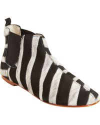 Collection Privée - Ponyhair Striped Short Ankle Boot - Lyst