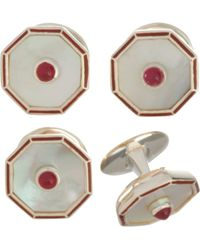 Deakin & Francis - Mother Of Pearl Ruby Red Stud Set - Lyst