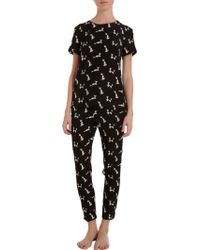 Piamita - Geometric Cat Print Gaby Pyjama Shirt - Lyst