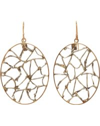 Sandra Dini - Rose Gold Silver Lattice Hoop Earrings - Lyst