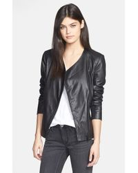 Trouvé Trouvé Collarless Leather Jacket - Lyst