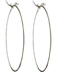 Dean Harris - White Gold Oval Hoop Earrings - Lyst