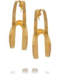 Herve Van Der Straeten - Hammered Goldplated Hoop Earrings - Lyst