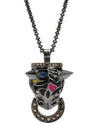 Mawi - Crystal Enamel Panther Pendant Necklace - Lyst