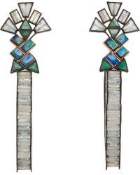 Nak Armstrong - Opal Moonstone Aquamarine Emerald Hoop Earrings - Lyst