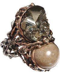 Sandra Dini - Lava Pyrite Twin Ring - Lyst
