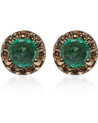 Anna Sheffield - Tiny Gold Emerald and Diamond Rosette Stud Earrings - Lyst