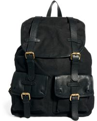 Asos Canvas and Leather Backpack - Lyst