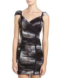 BCBGMAXAZRIA Shredded Shift Dress - Lyst