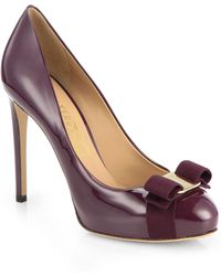 Ferragamo Rilly Patent Leather Bow Pumps - Lyst