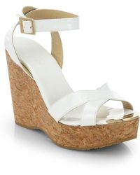 Jimmy Choo Papyrus Patent Leather And Cork Wedge Sandals - Lyst