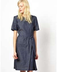 Peter Jensen Mini Bow Dress in Denim - Lyst