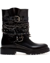 Zara Chains and Straps Ankle Boots - Lyst