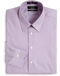 Saks Fifth Avenue Black Label - Minicheck Cotton Dress Shirtslimfit - Lyst